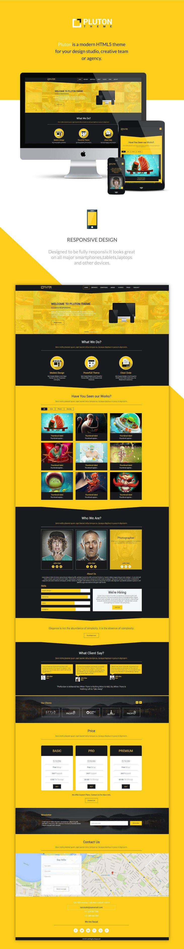 Pluton шаблон сайта (HTML5/CSS3/jQuery) скачать бесплатно