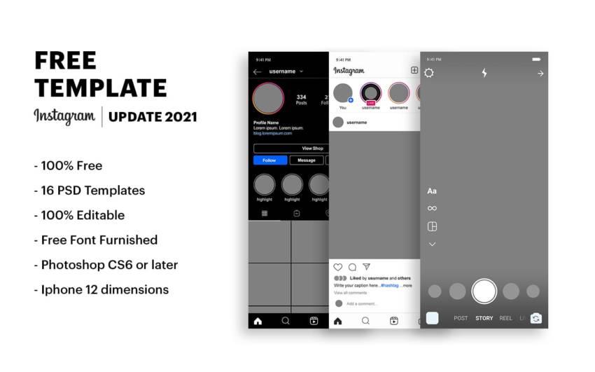 Instagram UI Kit 2021 (.Psd) скачать бесплатно