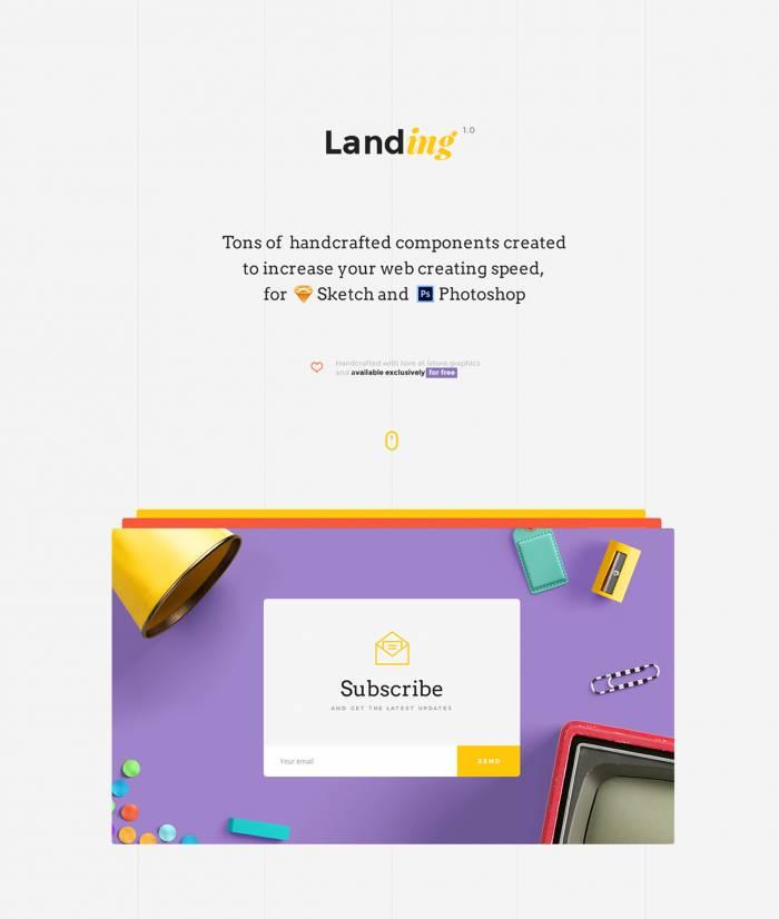 Landing UI Kit (.Psd + .Sketch) скачать бесплатно