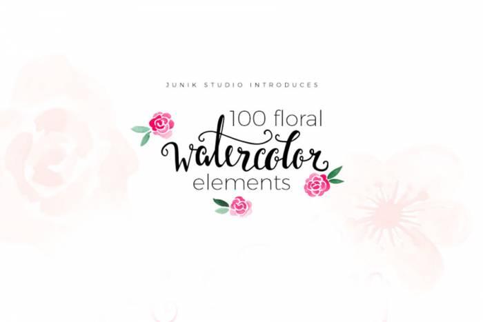 100 Free Watercolor Floral Elements (.Png) скачать бесплатно