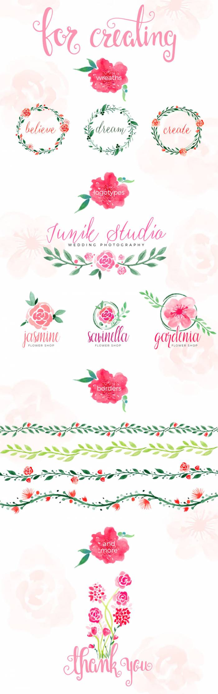 100 Free Watercolor Floral Elements (.Png) скачать бесплатно