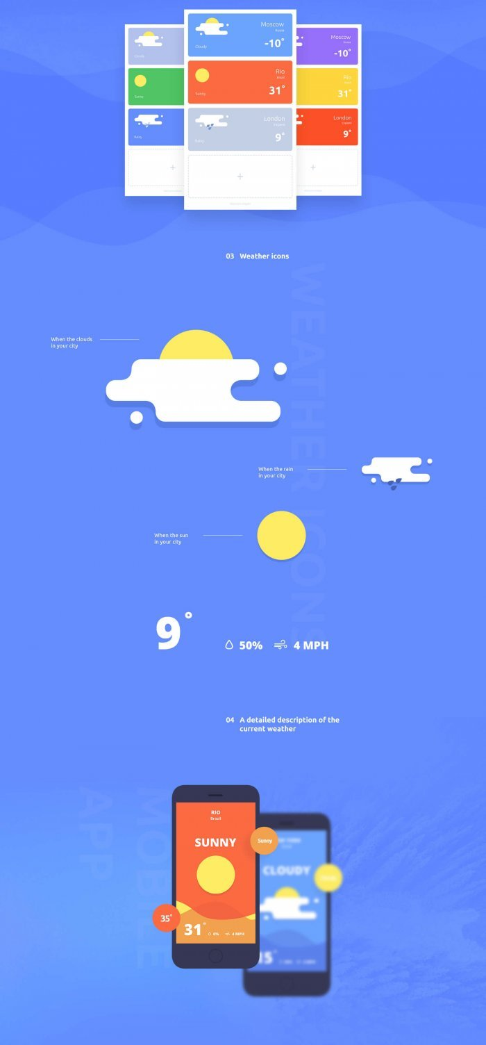 WeatherApp Landing (.Psd) скачать бесплатно