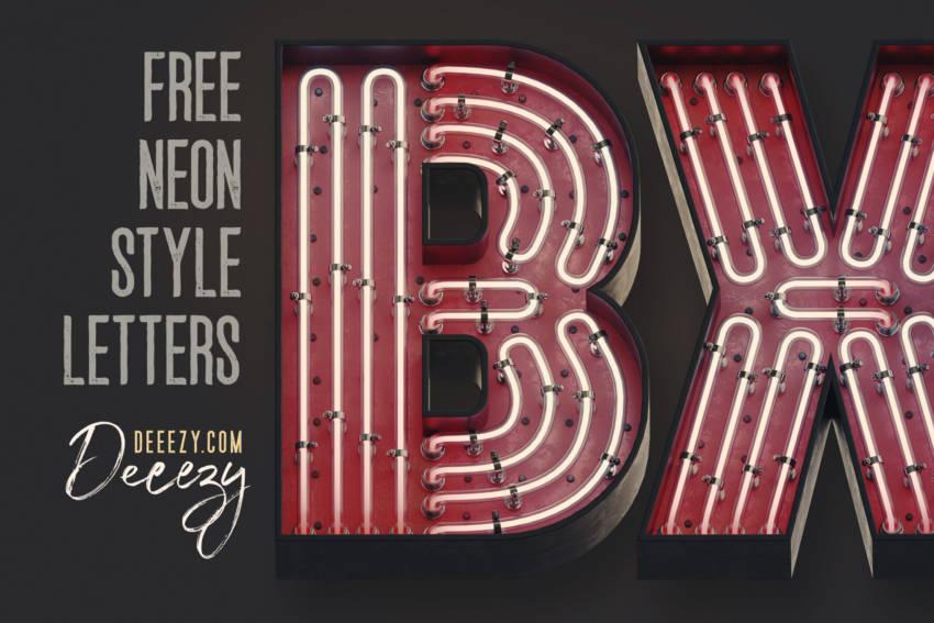 Free Bold Retro Neon 3D Lettering (.Png) скачать бесплатно