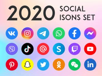 Иконки социальных сетей и мессенджеров 2020
