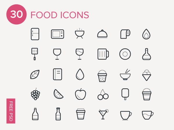 30 Food icons (.Ai) скачать бесплатно