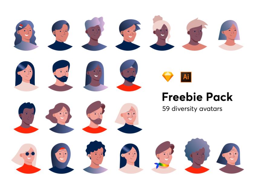 Diversity Avatars (.Ai + .Svg +.Sketch + .Png) скачать бесплатно