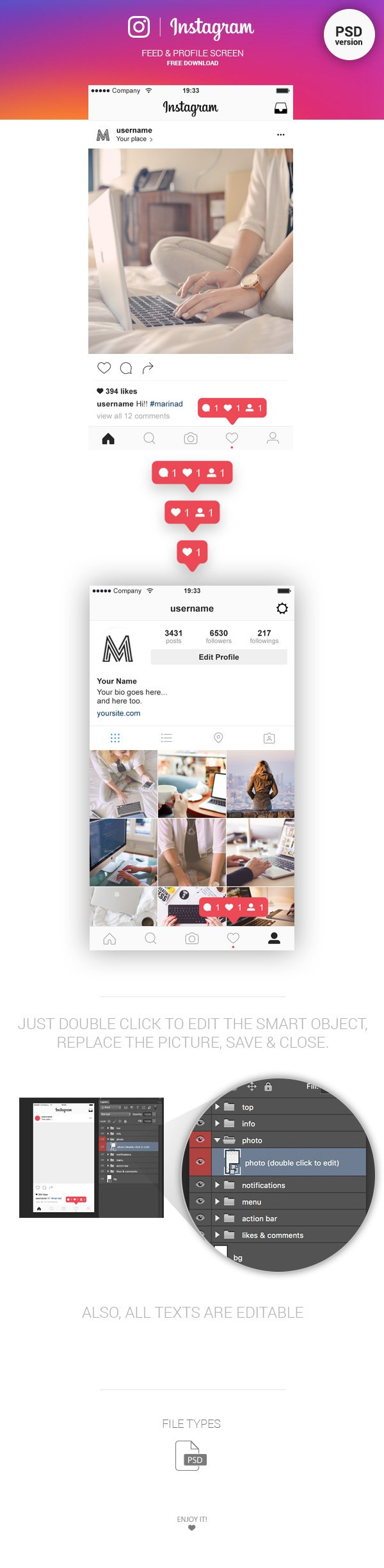 Instagram Feed & Profile Screen UI (.Psd) скачать бесплатно