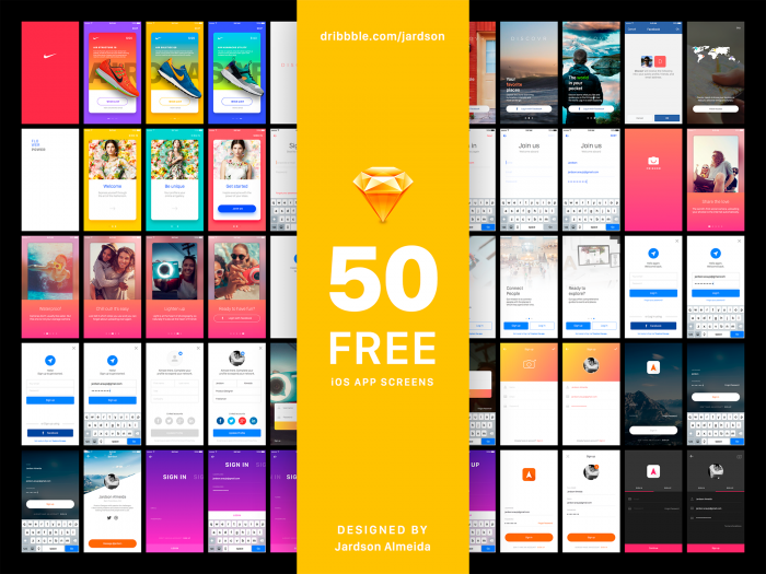 50 Free iOS App Sign In Screens (.Sketch) скачать бесплатно