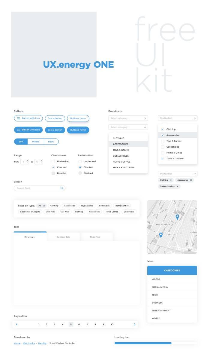 Light Material UI Kit (.Psd) скачать бесплатно
