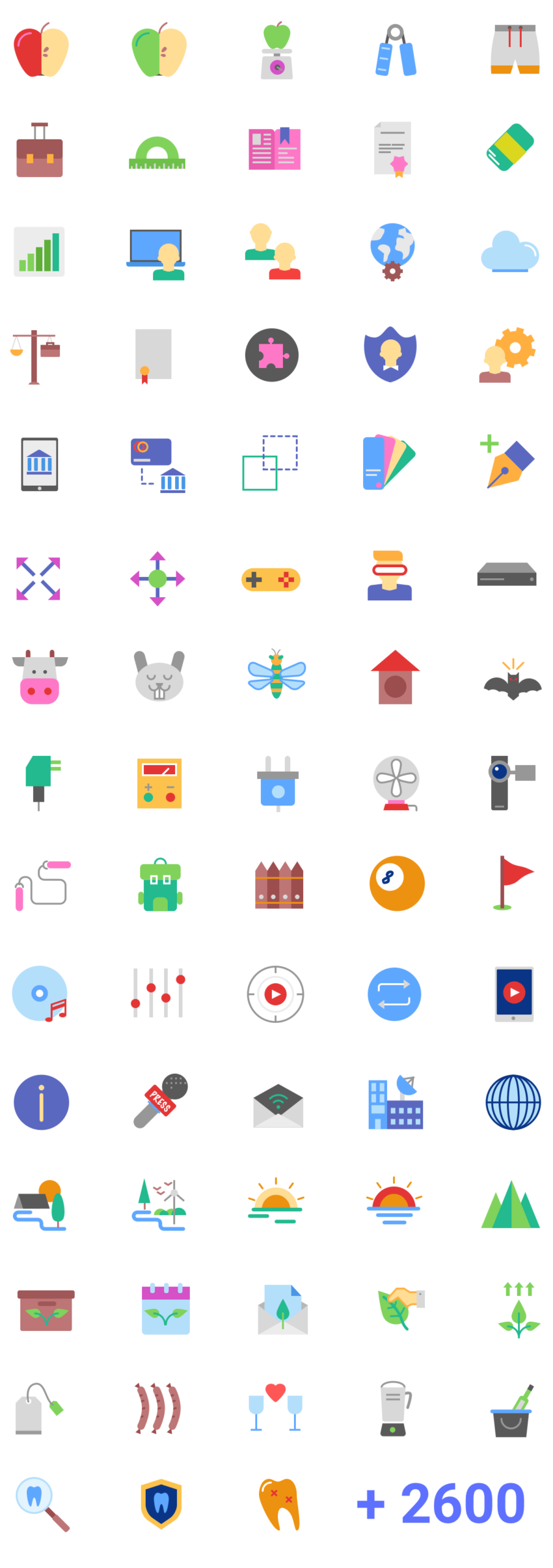 Magicons - 2687 Flat Icons (.Eps + .Sketch + .Png + .Svg) скачать бесплатно