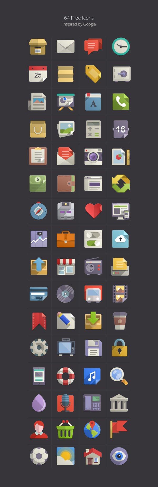 64 иконки от Google (.Psd) скачать бесплатно