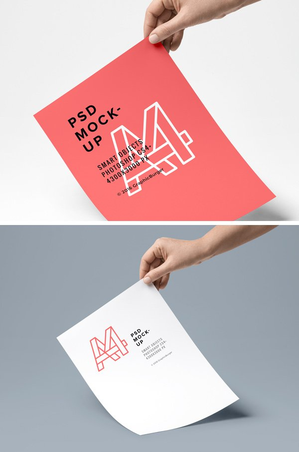 A4 Paper PSD MockUp (.Psd) скачать бесплатно