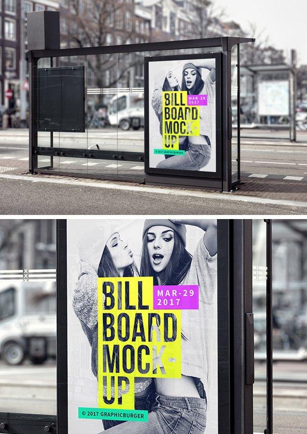 Bus Stop Billboard MockUp (.Psd) скачать бесплатно