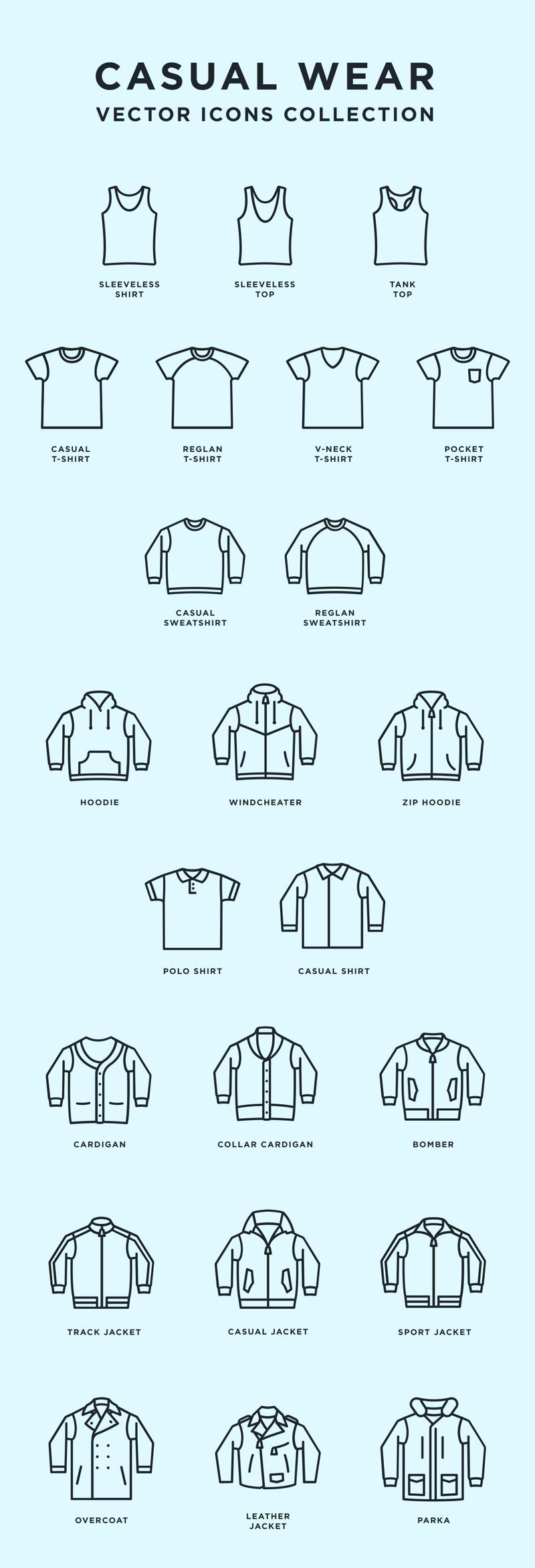 Casual Wear: Free Vector Icons (.Eps) скачать бесплатно