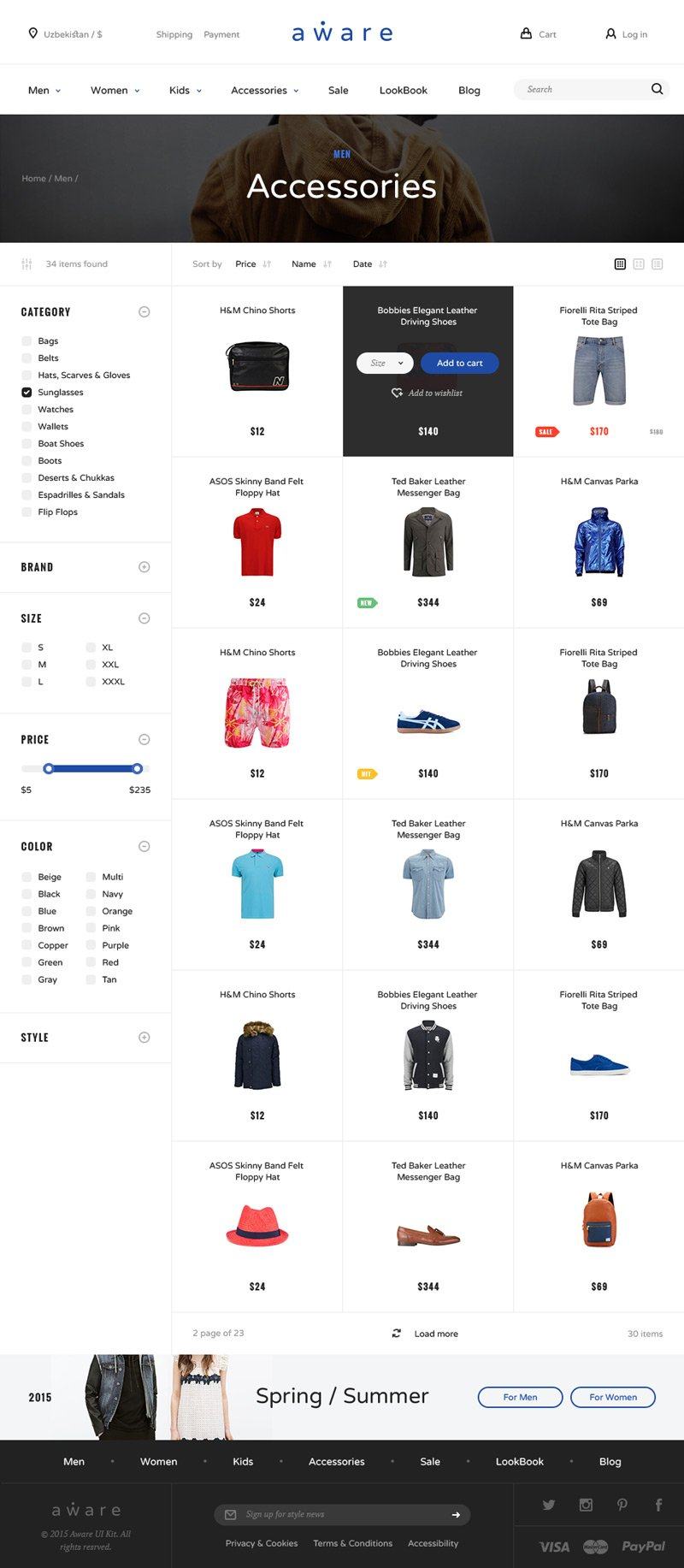 Aware Ecommerce UI Kit (.Psd + .Sketch) скачать бесплатно