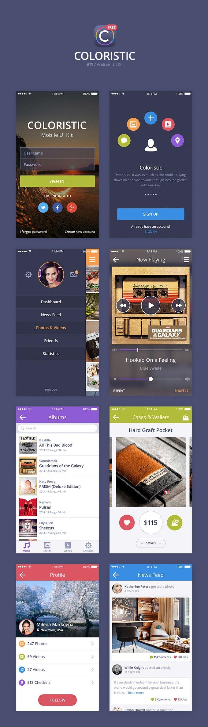 Coloristic UI Kit mobile app (.Psd) скачать бесплатно