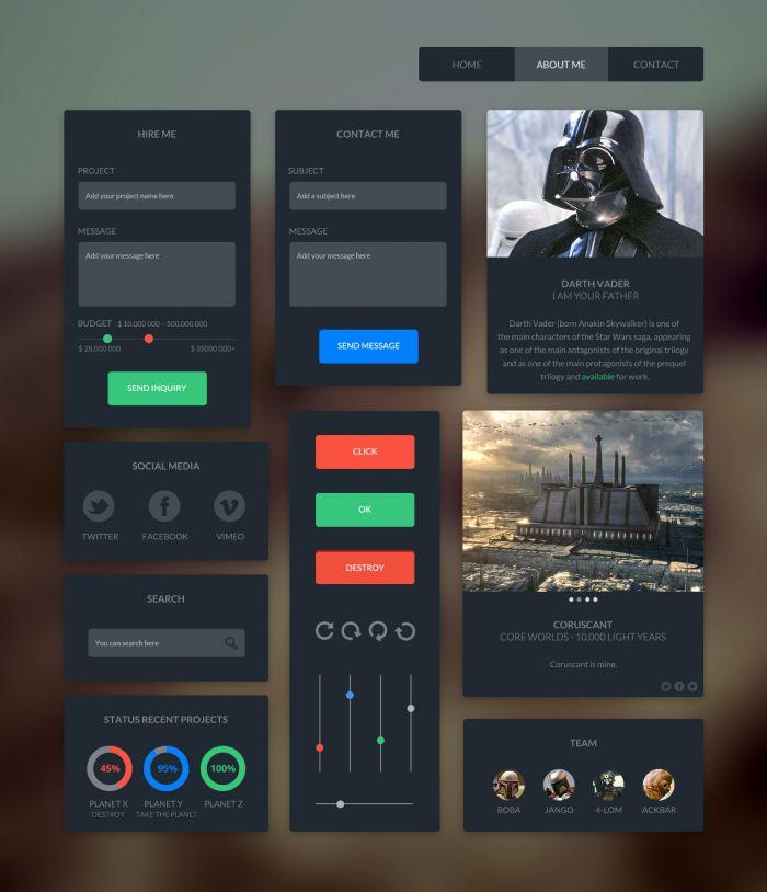 Dark UI Kit (.Psd) скачать бесплатно