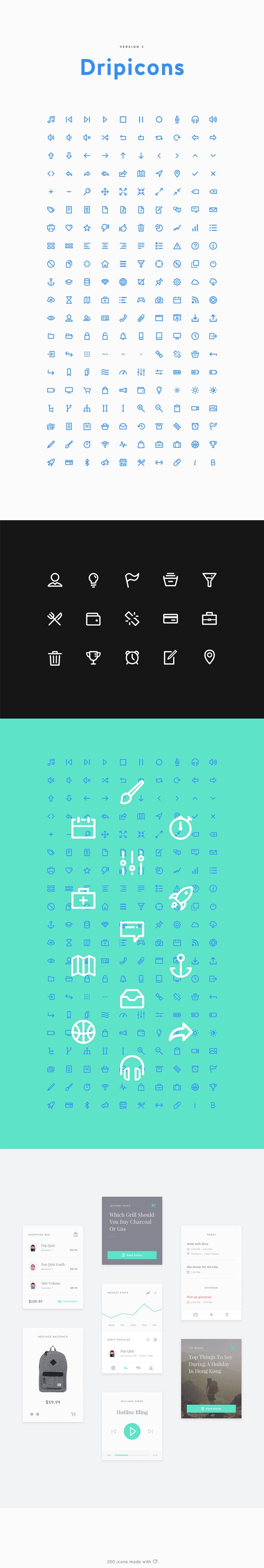 Dripicons Set (.Ai + .Psd + .Sketch + .Svg) скачать бесплатно