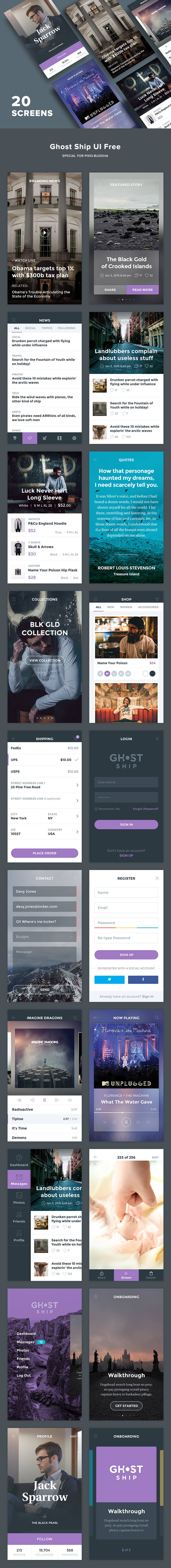 Ghost Ship Mobile UI Kit (.Psd) скачать бесплатно