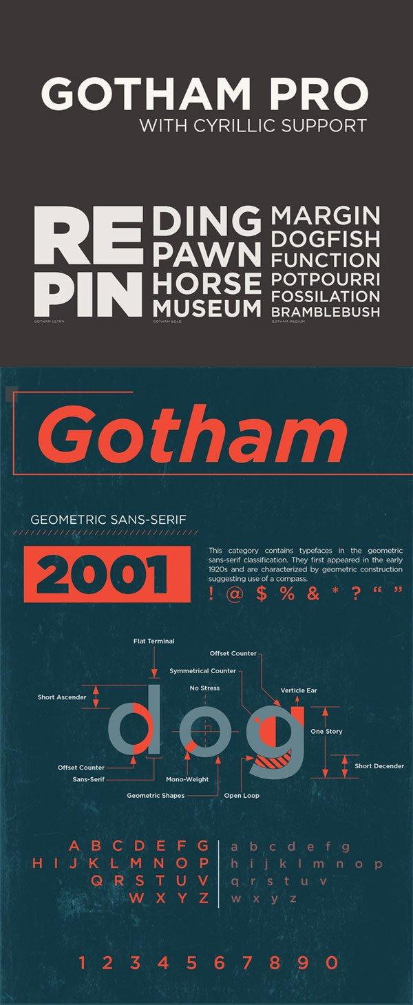 Шрифт Gotham Pro скачать бесплатно