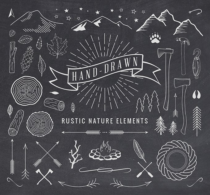 Hand-Drawn Nature Elements (.Ai + .Psd + .Eps) скачать бесплатно