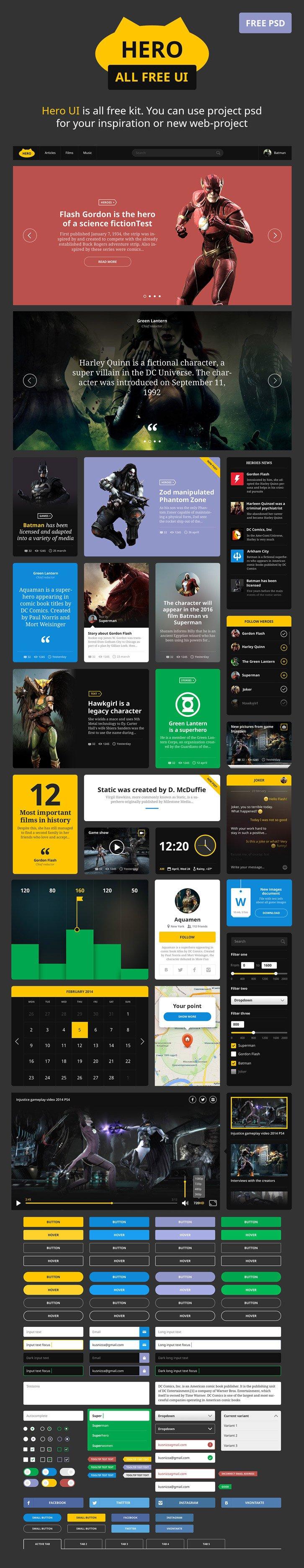 Hero UI (.Psd) скачать бесплатно