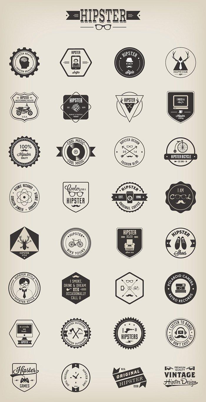 Hipster Badges (.Ai + .Eps) скачать бесплатно