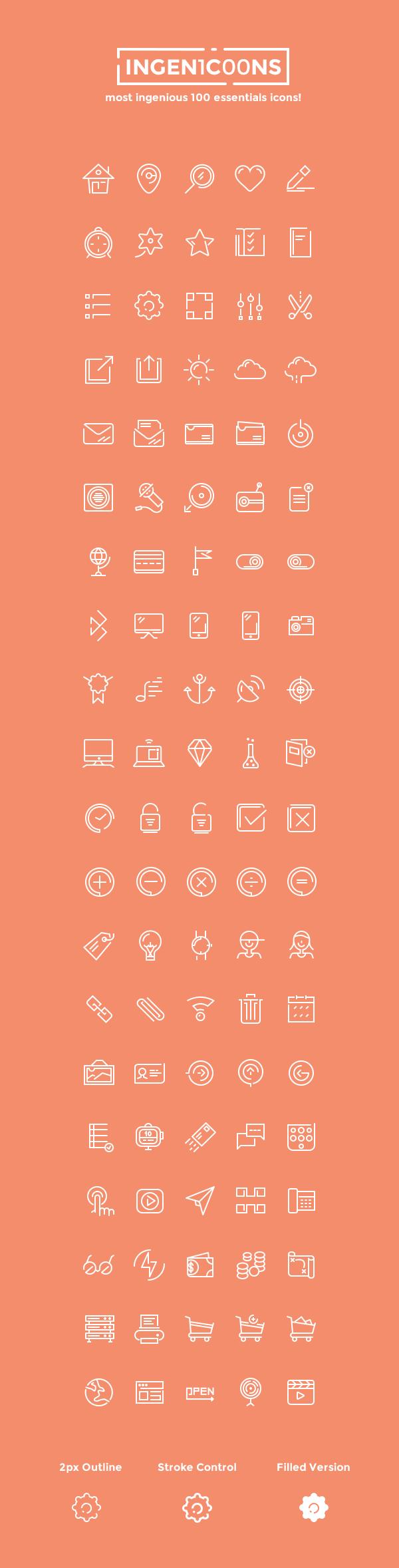 Иконки Ingenicons (.Ai + .Psd + .Png) скачать бесплатно