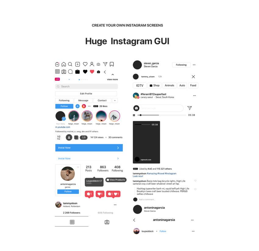 Instagram Mockup 2020 (.Psd, .Sketch, .Fig) скачать бесплатно
