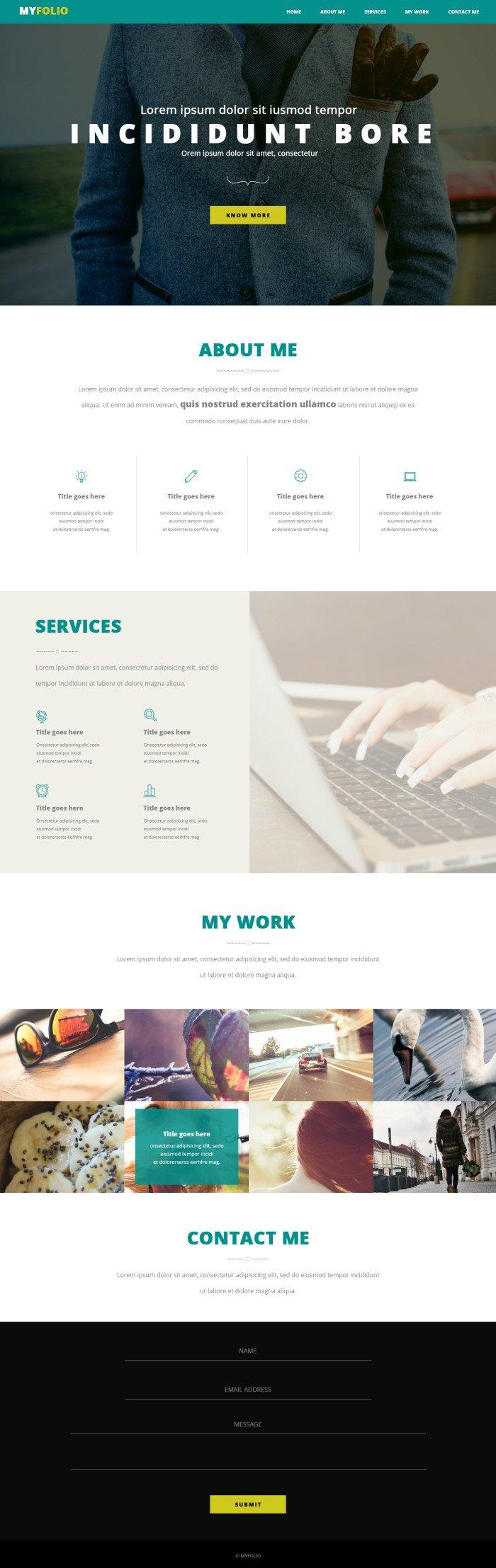 Одностраничный сайт-портфолио (.Psd) скачать бесплатно