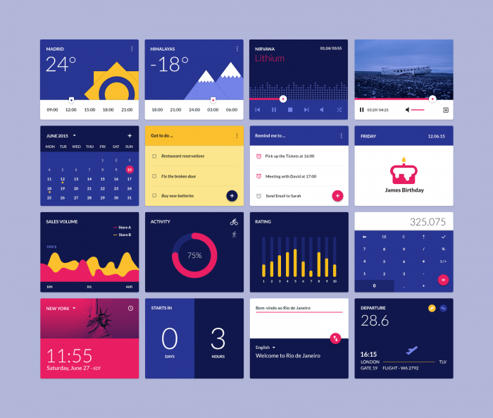 Material Design widgets UI kit (.Psd) скачать бесплатно