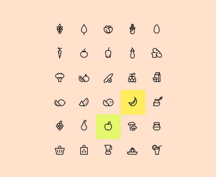 Organic Food Icons (.Ai + .Eps. + .Png) скачать бесплатно