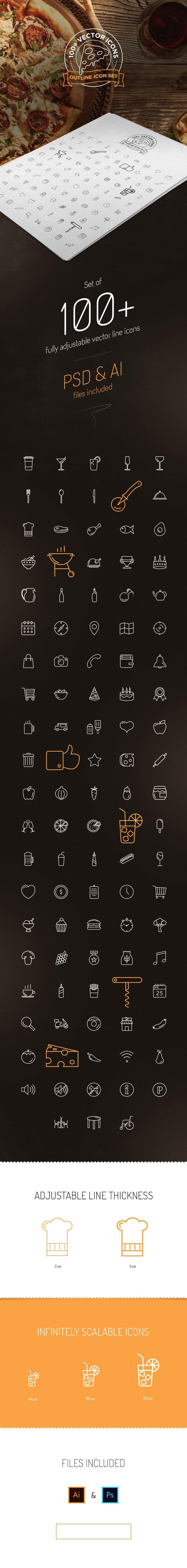100+ line icons (.Ai + .Psd) скачать бесплатно