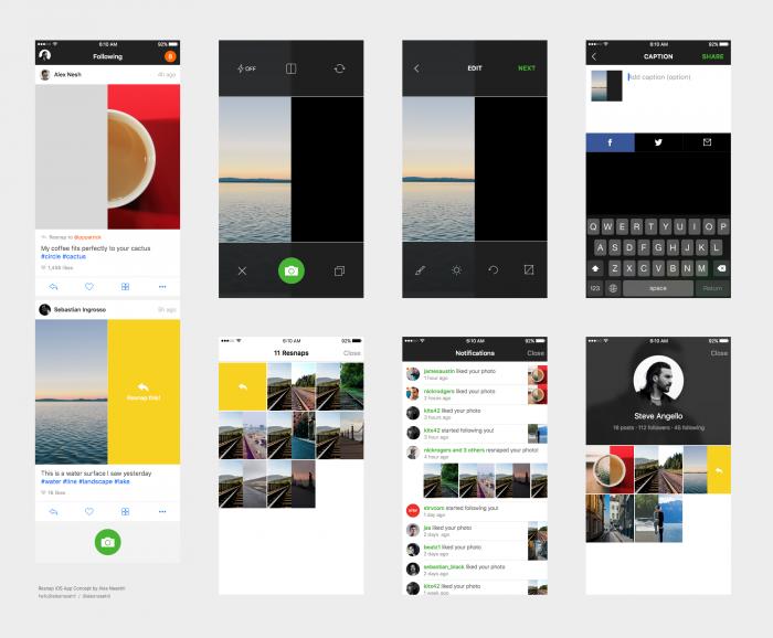 Resnap iOS App UI (.Sketch) скачать бесплатно