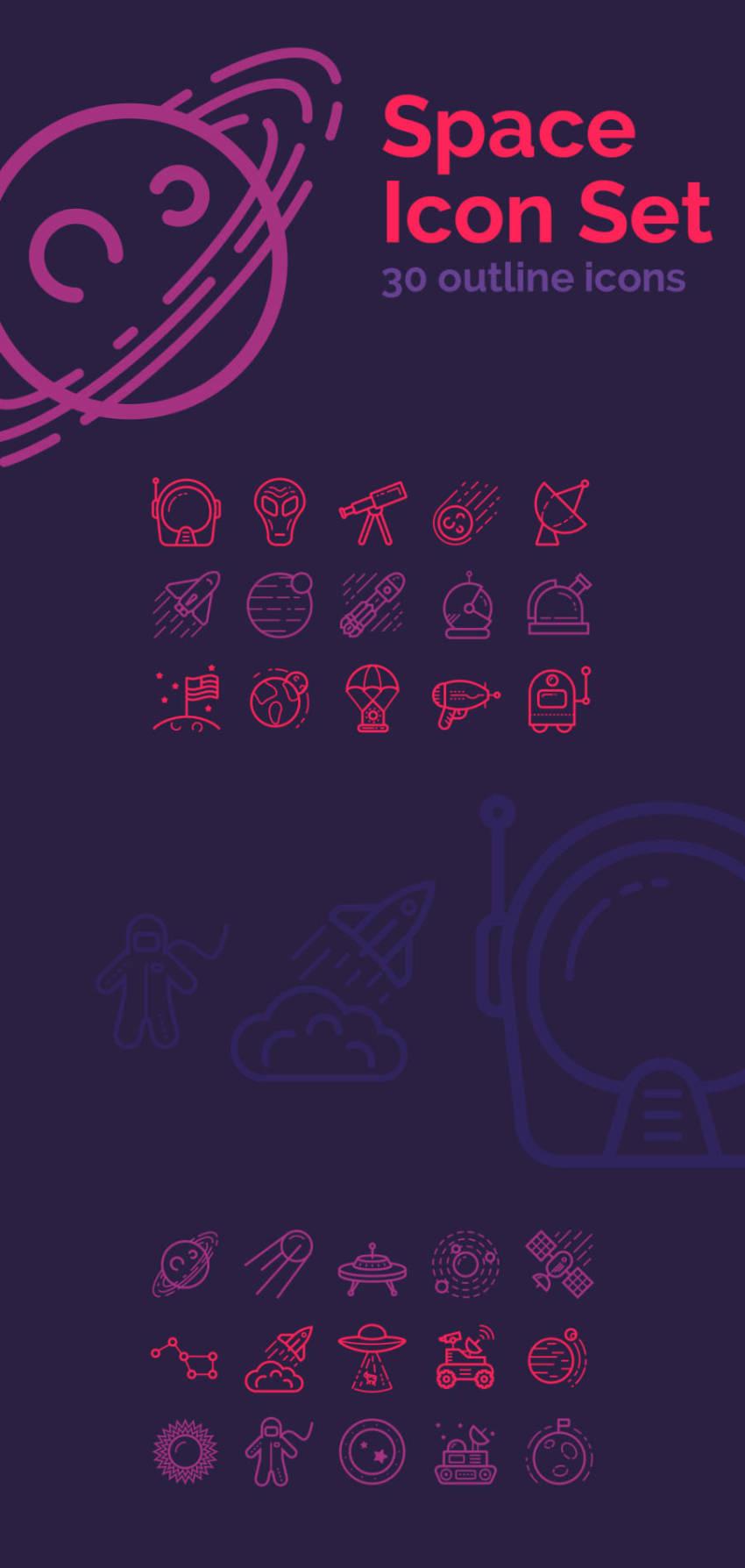 Space Icon Set (.Svg + .Png) скачать бесплатно