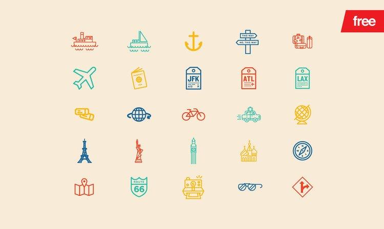 Travelicons иконки (.Ai) скачать бесплатно
