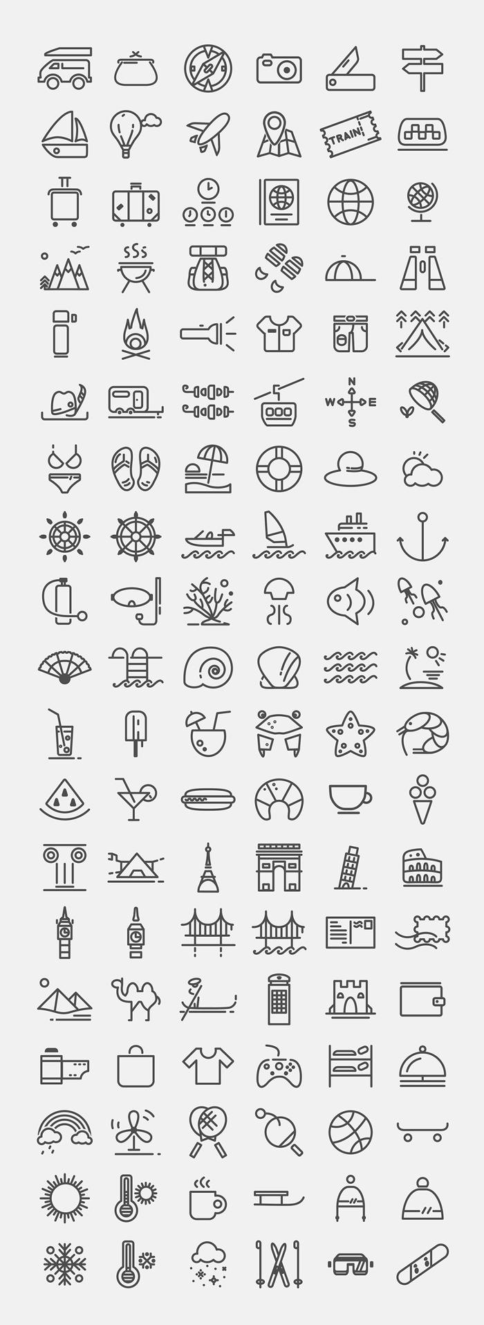 Travelling icon set (.Ai) скачать бесплатно