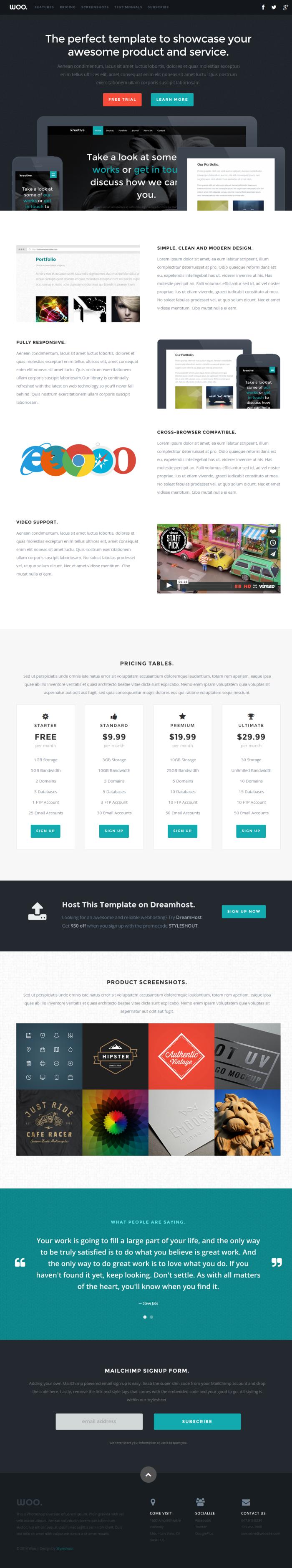 Woo Landing page (HTML5/CSS3) скачать бесплатно
