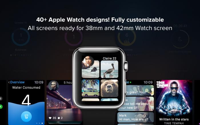Apple Watch Apps GUI (.Sketch + .Psd) скачать бесплатно