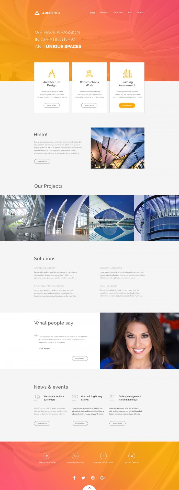 Шаблон сайта Archi Next (.Psd) скачать бесплатно