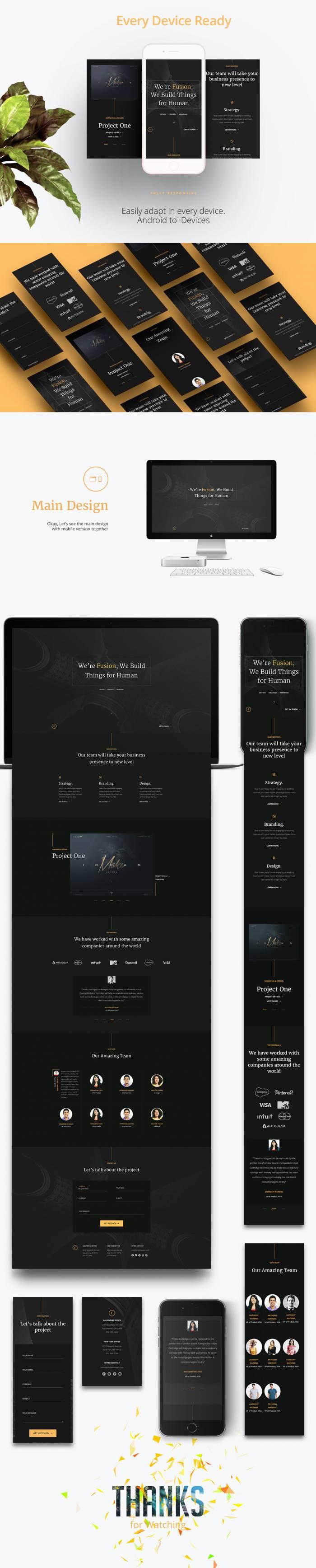 Fusion – Free Portfolio Template (HTML5/CSS3) скачать бесплатно