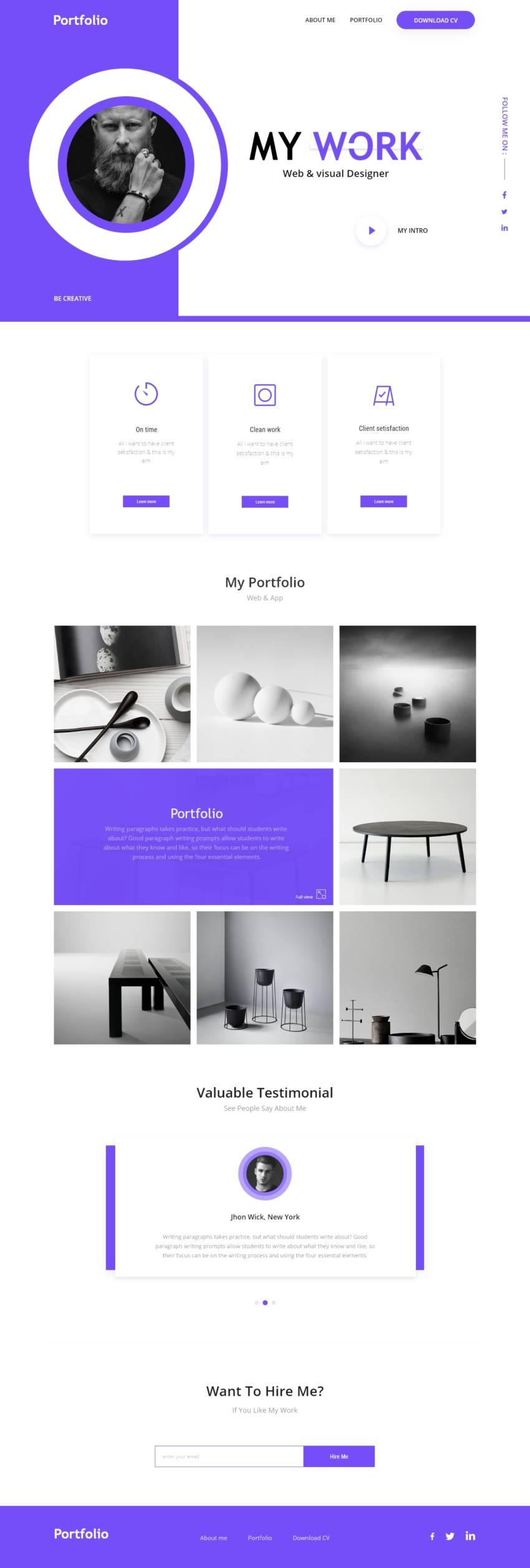 Personal Portfolio template (.Xd) скачать бесплатно