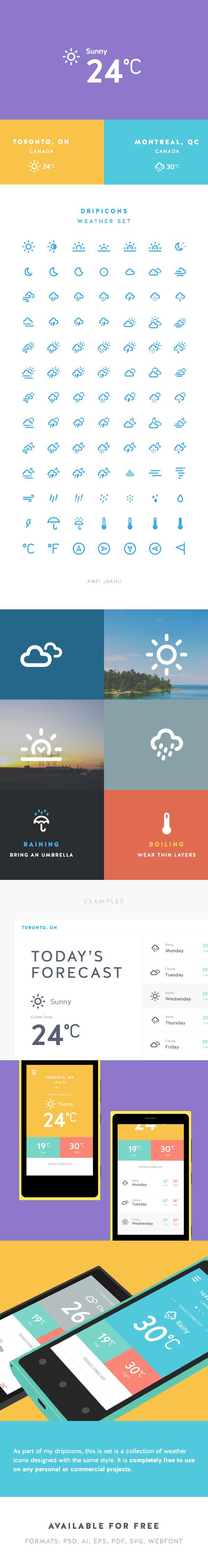 Dripicons - Weather Set иконки (.Psd +.Ai) скачать бесплатно