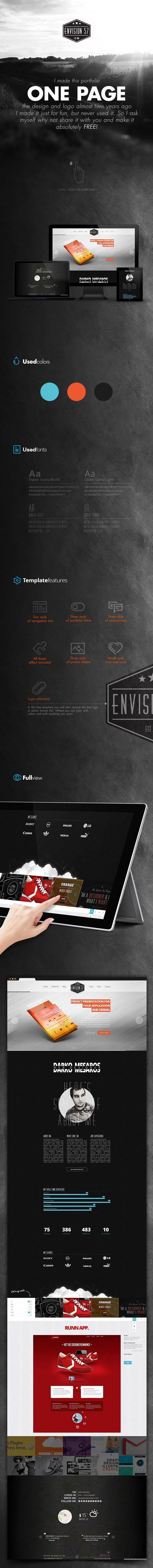 Envision 57 - шаблон одностраничного сайта (.Psd) скачать бесплатно
