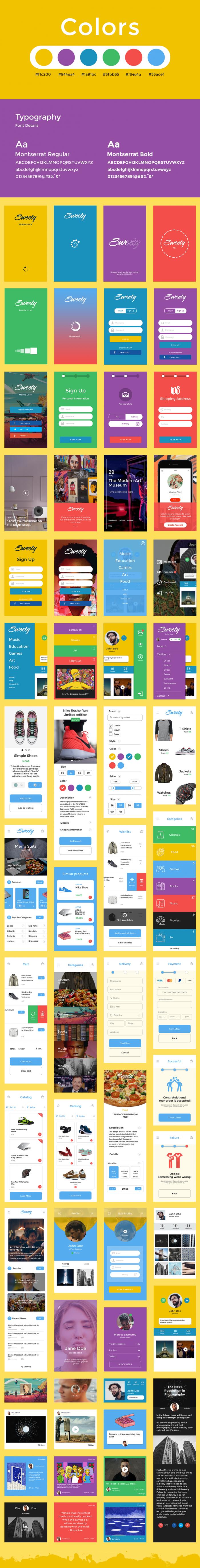 Sweety iOS UI Kit (.Psd) скачать бесплатно