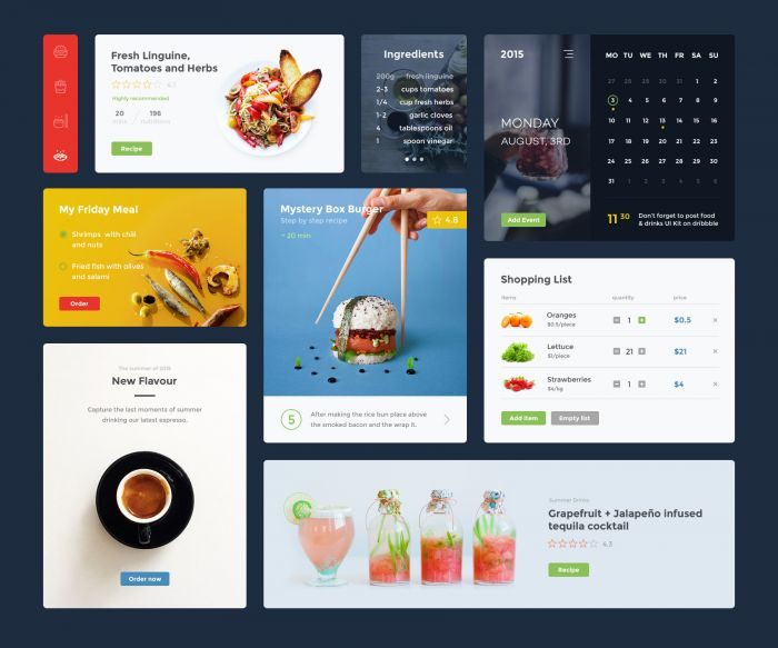 Food & Drink UI Kit (.Psd + .Sketch) скачать бесплатно