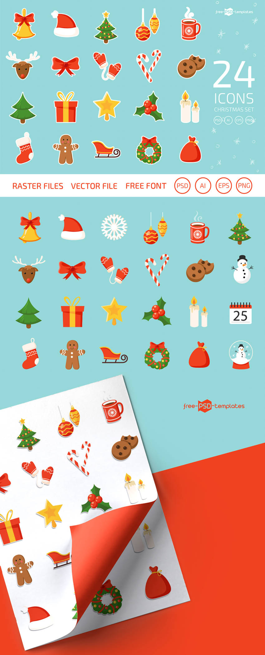 Free Christmas Icons Vector Set (.Psd + .Ai + .Eps + .Png) скачать бесплатно