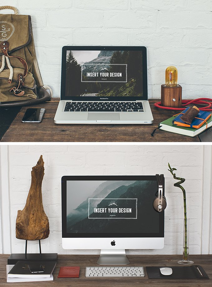 2 Hip Desktop Mock-ups (.Psd + .Jpg) скачать бесплатно