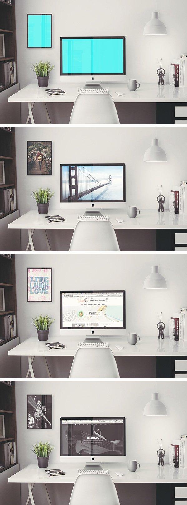 iMac Office Mockup (.Psd) скачать бесплатно