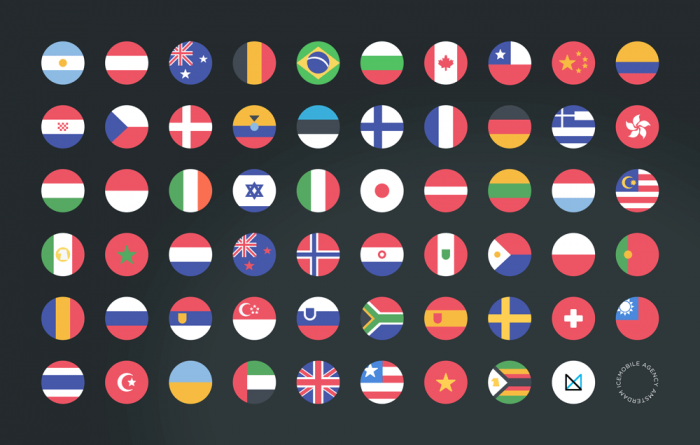 58 Rounded Country Flags (.Psd) скачать бесплатно
